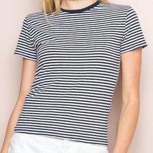 Brandy Melville Blue/White Stripe Crewneck T-Shirt